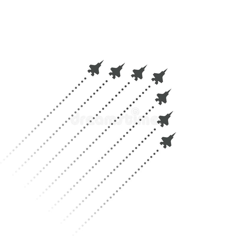 Military Aviation. Fighters fly up. wedge shape of flying jet planes. Silhouettes of reactive planes and trace of jet. Engines. Vector illustration royalty free illustration