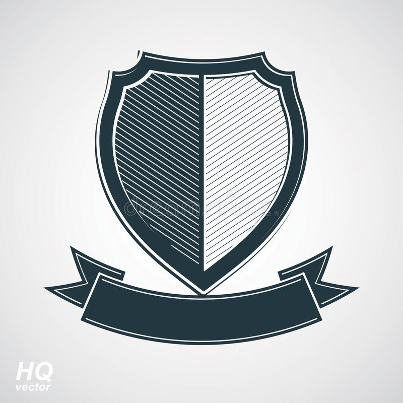 Military award icon. Vector grayscale defense shield with curvy. Ribbon, protection design graphic element. Heraldic illustration on security theme - retro coat stock illustration