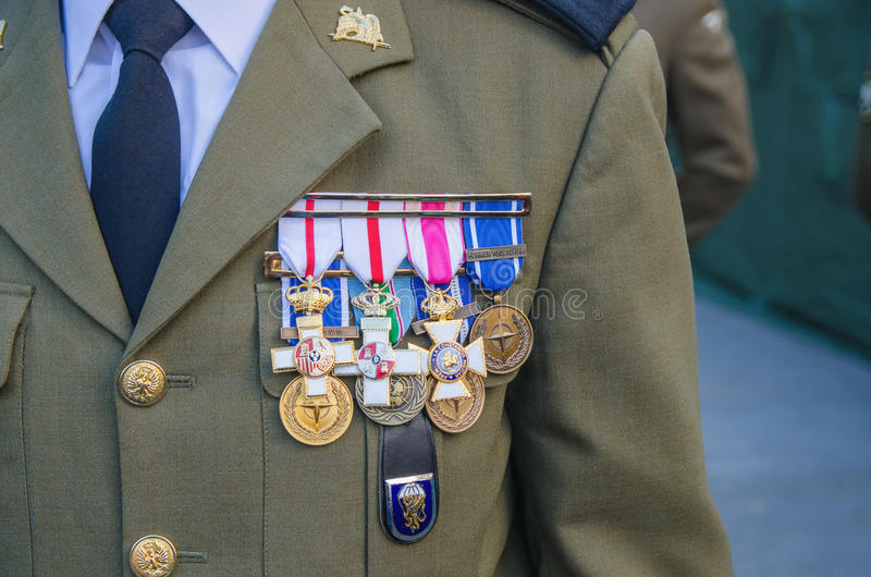 Military awards. Spanish military uniform with a lot of awards on the jacket stock photos