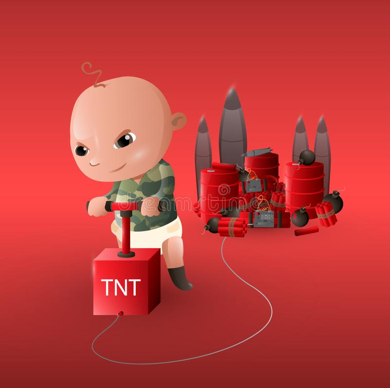 The military babies. Art illustration. / paint vector illustration