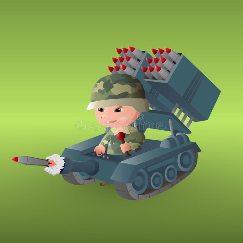 The military babies. Art illustration stock illustration