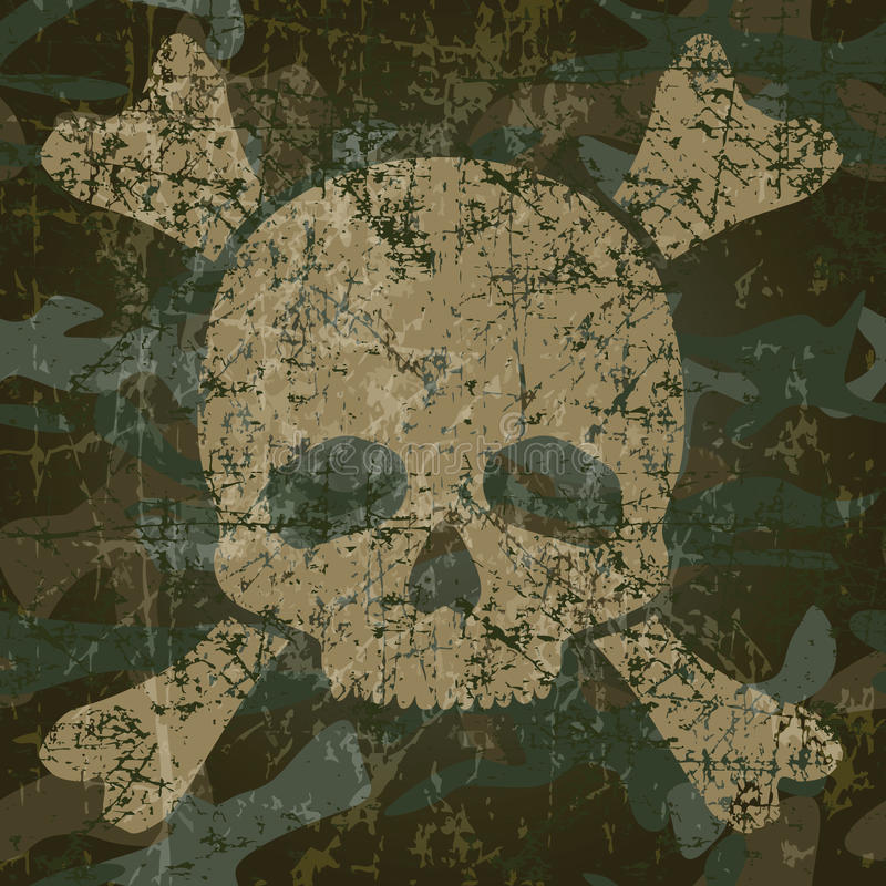 Military background with skull and crossbones royalty free illustration