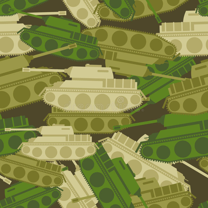 Military background from tanks. Army seamless vector illustration