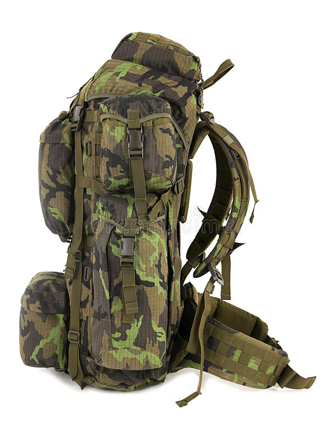 Military backpack isolated on white. Green royalty free stock photo