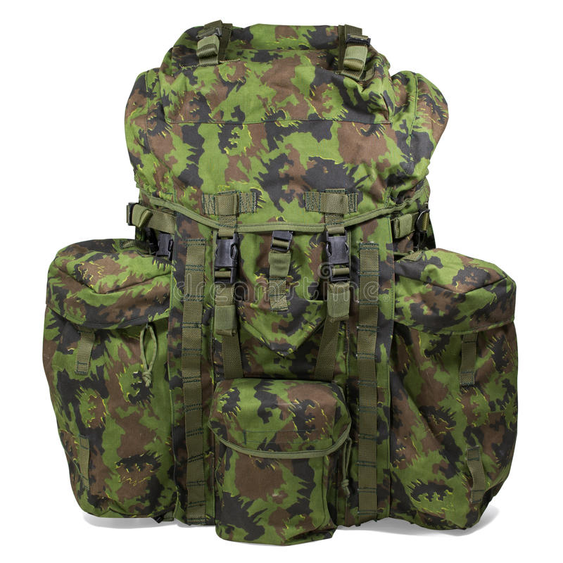 Military backpack on white. Clipping path. stock photo