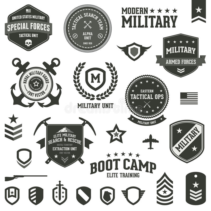 Military badges. Set of military and armed forces badges and labels