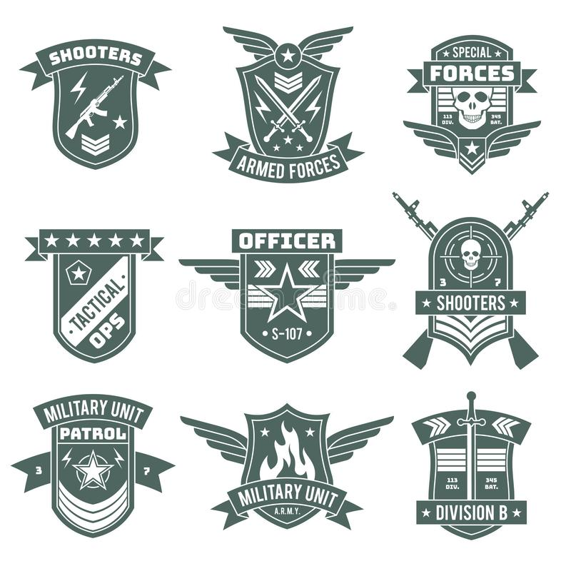 Military badges. Army patches, embroidery chevron with ribbon and star, gun and skull. Vintage soldier clothing tag, t stock illustration