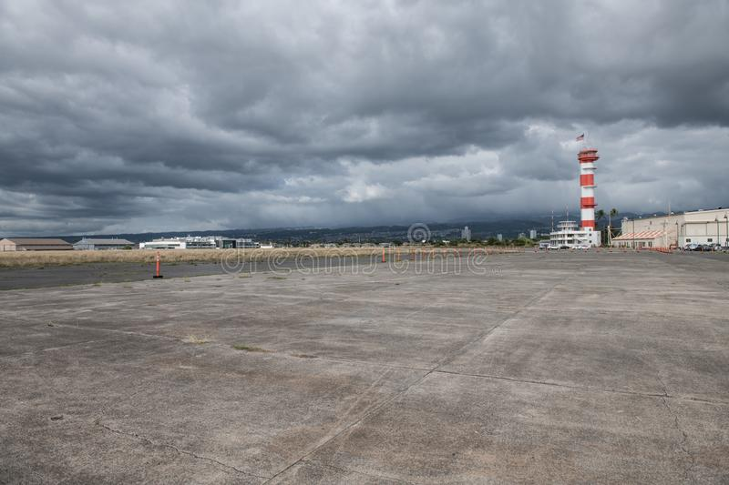 Military base airport runway with control tower. Military base airport runway with control tower royalty free stock image
