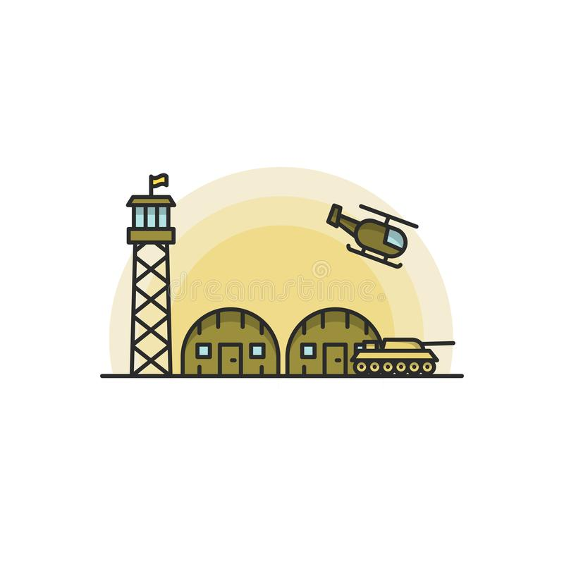 Military Base with Army and Air Force Vehicles. Vector illustration on white background royalty free illustration
