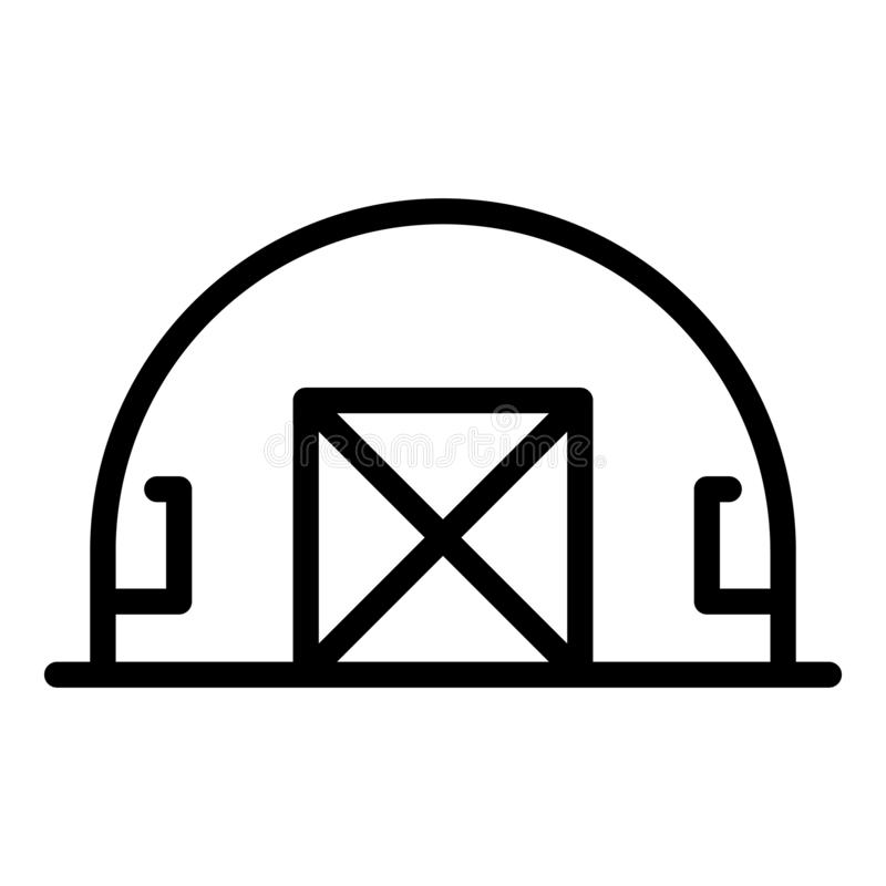Military base hangar icon, outline style. Military base hangar icon. Outline military base hangar vector icon for web design isolated on white background vector illustration