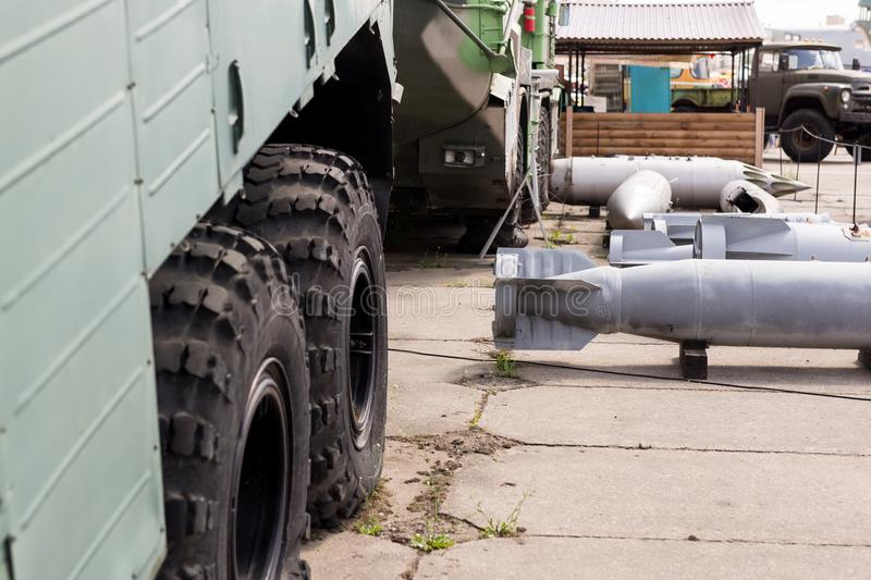 Military base with weapons and heavy machinery. Army naval post with air boms outdoors. Cold war and militarizatio stock photos