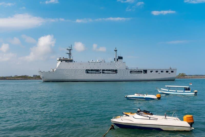 Military Battle Ship On Ocean stock photos