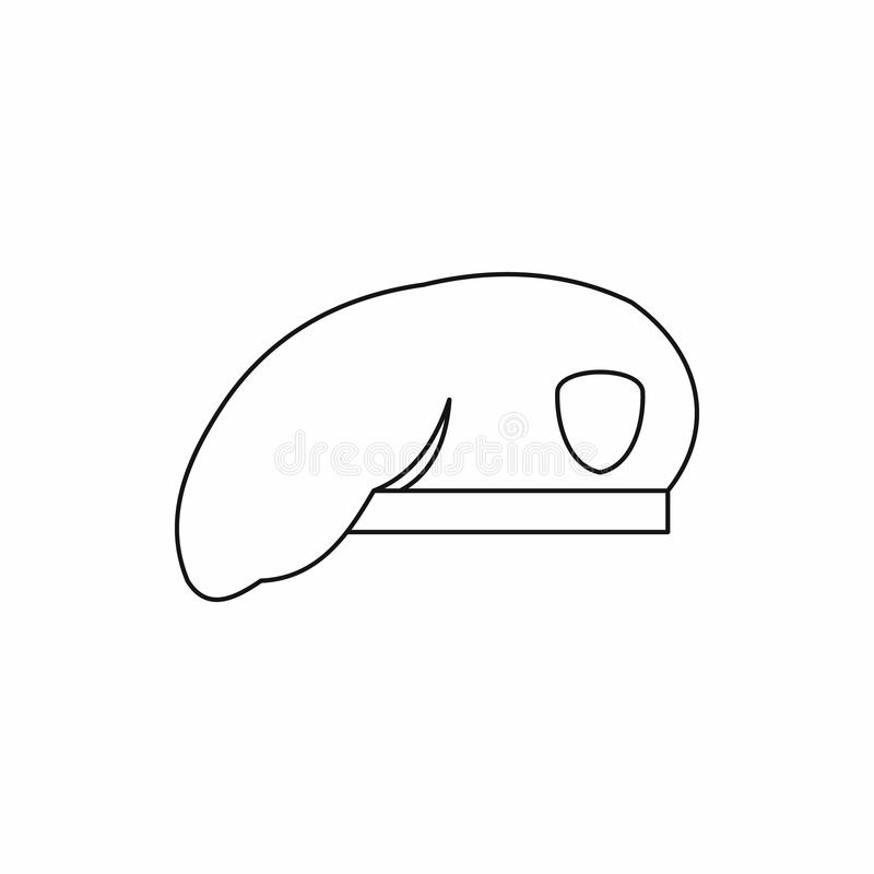 Military beret icon in outline style. On a white background royalty free stock photos