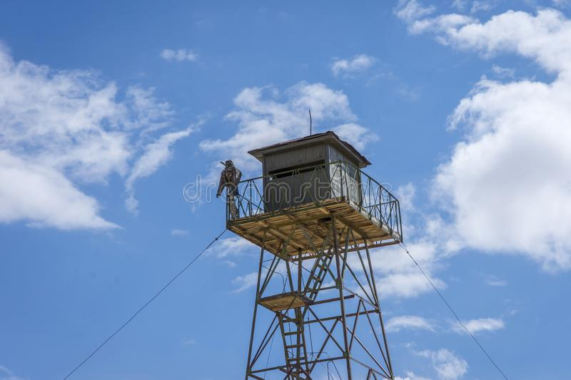 Military border tower, Kyrgyzstan royalty free stock image