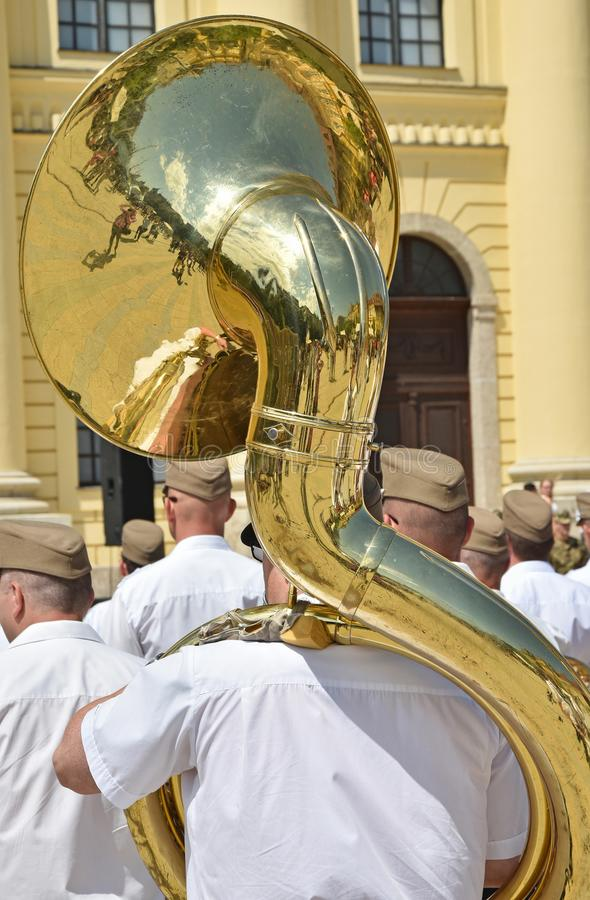 Military brass band outdoor with instruments. In summer stock photos