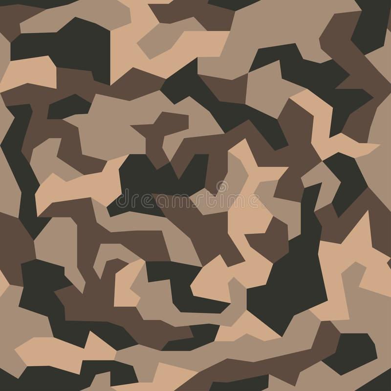 Military camo seamless pattern. Geometric camouflage backdrop in sand and desert brown color. royalty free illustration