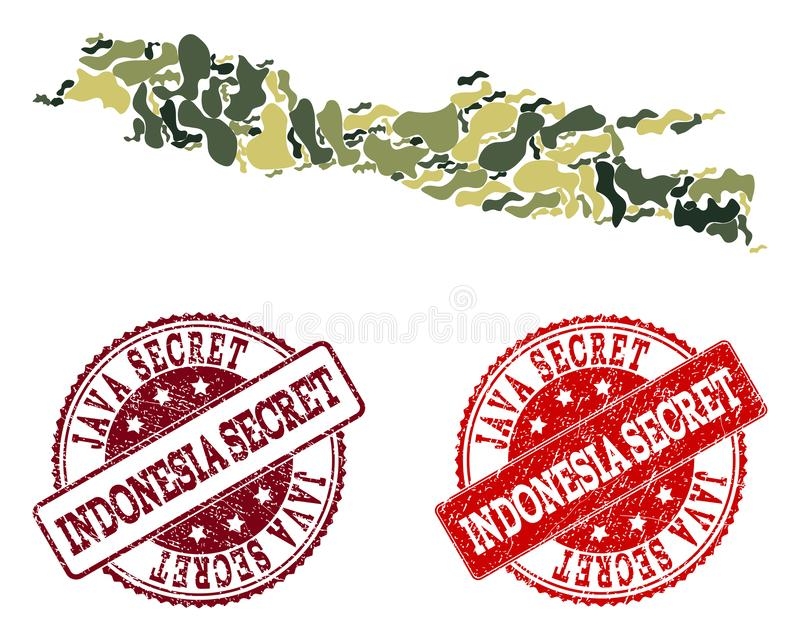 Military Camouflage Collage of Map of Java Island and Grunge Secret Stamps royalty free illustration