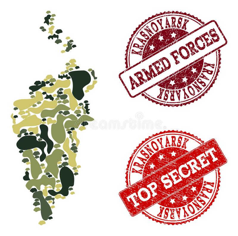 Military Camouflage Collage of Map of Krasnoyarsk Krai and Scratched Secret Stamps vector illustration