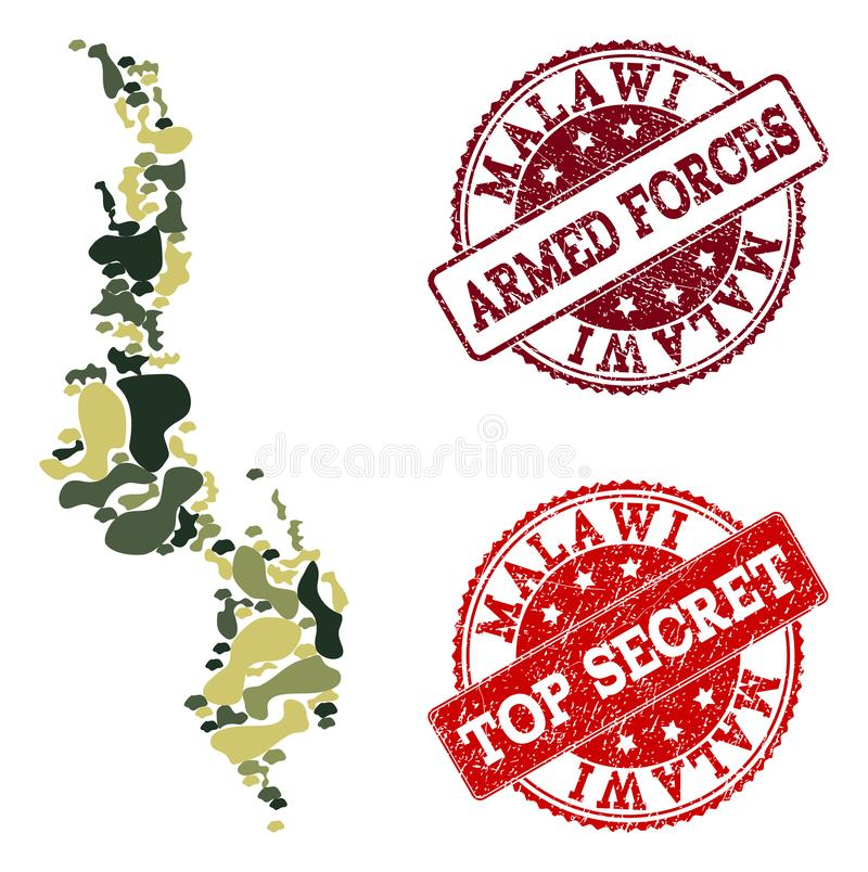 Military Camouflage Collage of Map of Malawi and Textured Secret Seals stock illustration