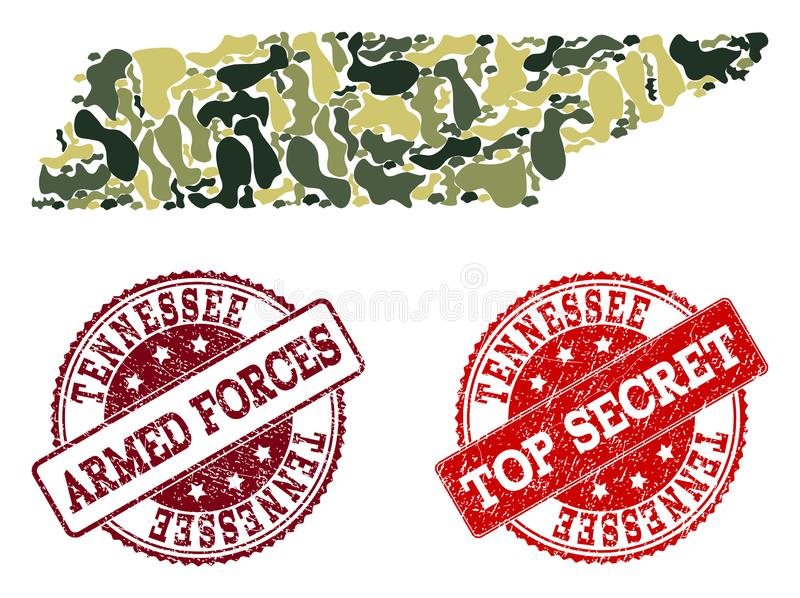 Military Camouflage Collage of Map of Tennessee State and Textured Secret Stamps vector illustration