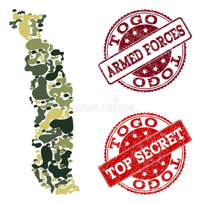 Military Camouflage Collage of Map of Togo and Textured Secret Seals stock illustration
