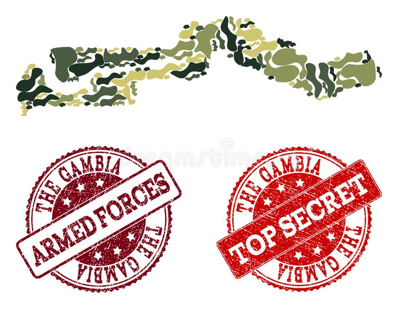 Military Camouflage Composition of Map of the Gambia and Scratched Secret Seals vector illustration