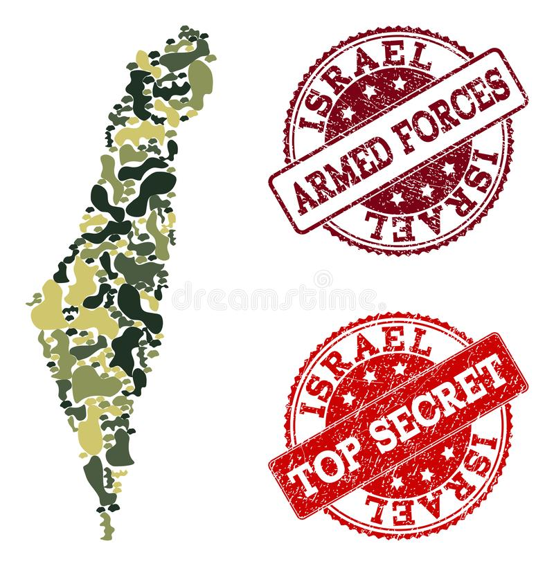 Military Camouflage Composition of Map of Israel and Distress Secret Seals royalty free illustration