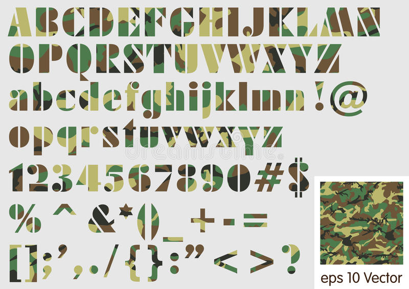 Military Camouflage Font Vector Illustration Stock Vector