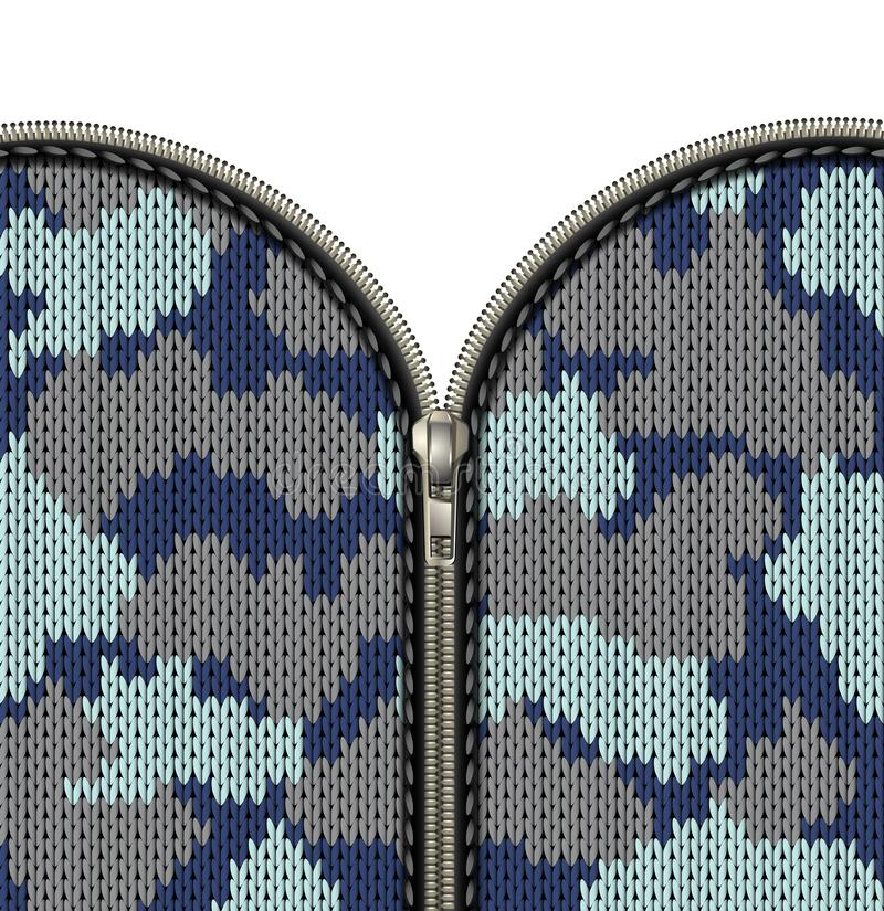 Military camouflage knitted texture with lock as a fabric texture in khaki hues. Fastener and zipper isolated on knitted stock illustration