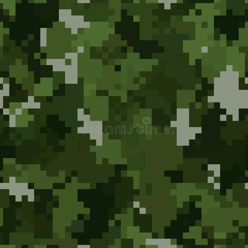 Free Military Camouflage Seamless Pattern. Woodland Digital Pixel Style. Stock Image - 188491361