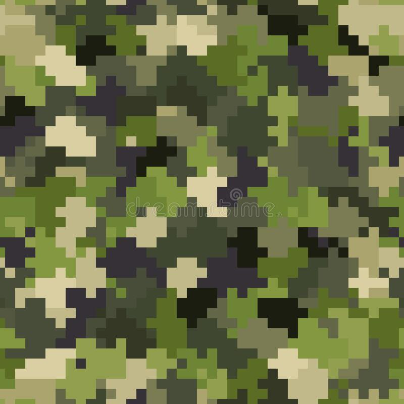 Free Military Camouflage Seamless Pattern. Woodland Digital Pixel Style. Royalty Free Stock Images - 188491379