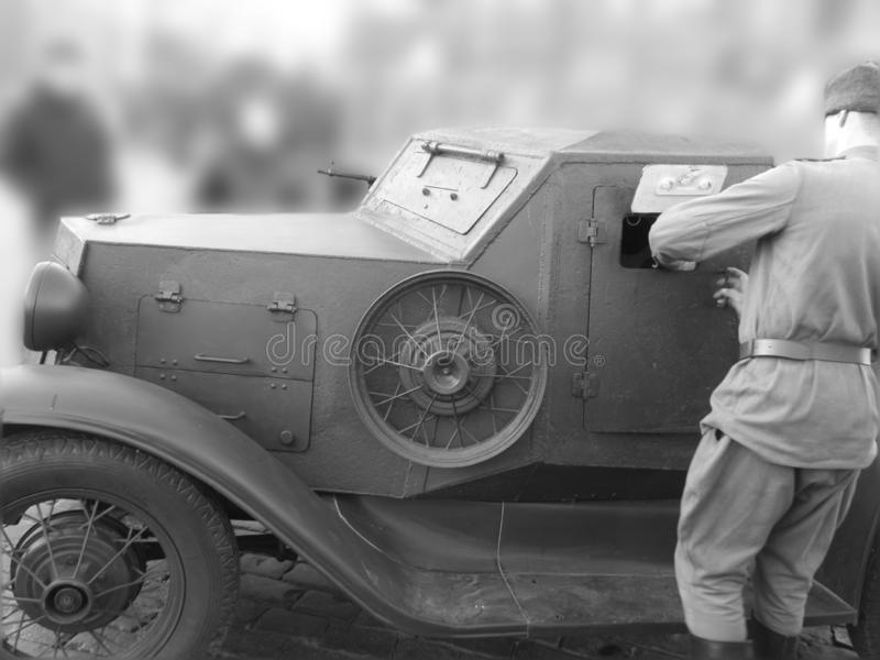 Military car with weapons and soldier royalty free stock image