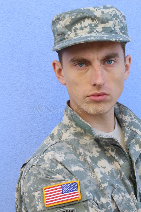 Military Caucasian Healthy Army Man Portrait.  royalty free stock photography