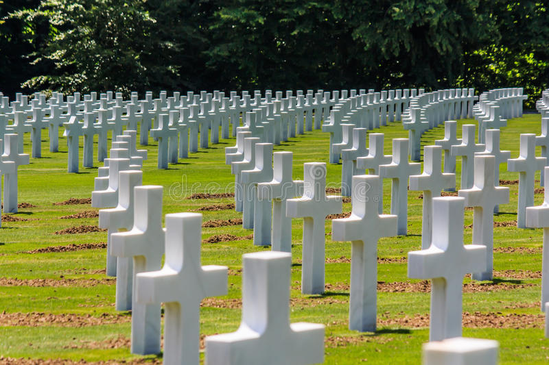 Military cemetery. Curved rows of tombstones on the American military cemetery in Luxembourg, Europe, for world war II victims stock photography