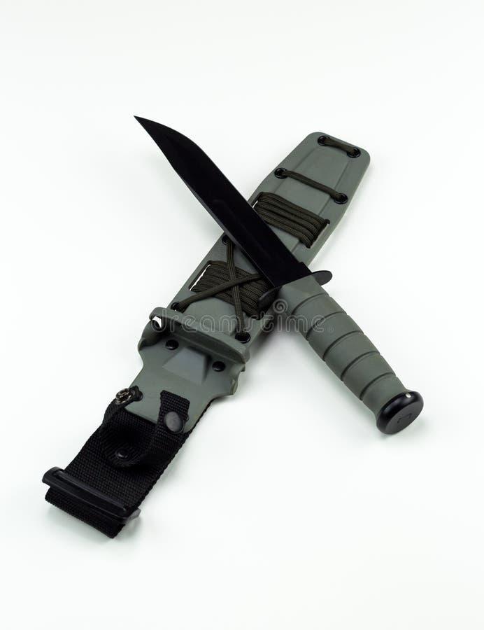 Military combat knife cross pattern ka-bar no logo wide crop. Ka-Bar Knife KaBar brand is owned by Alcas Corporation stock photos