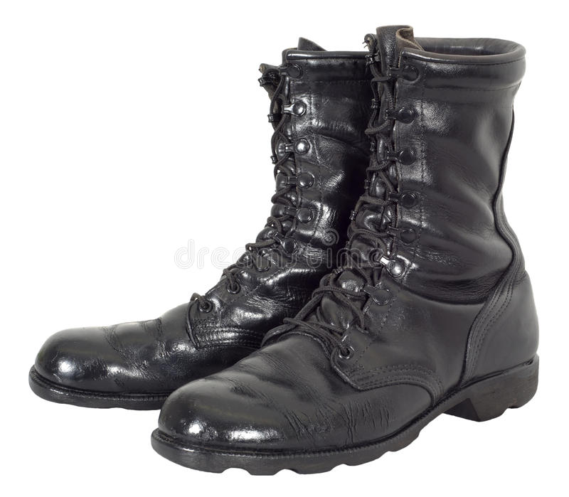 Military Combat Tactical Black Army Boots Isolated royalty free stock photography