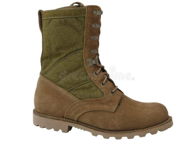 Military Desert Combat Boots Royalty Free Stock Image