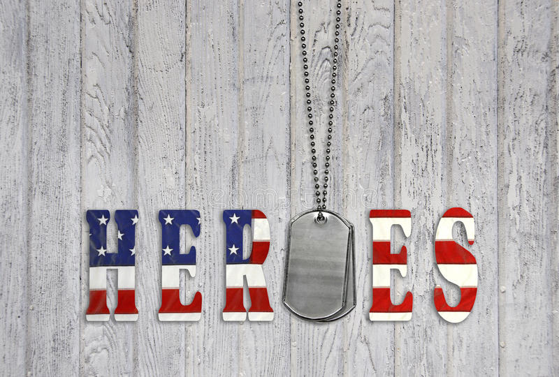 Military dog tags with hero flag. Tribute to our military with American flag font and dog tags on weathered wood vector illustration