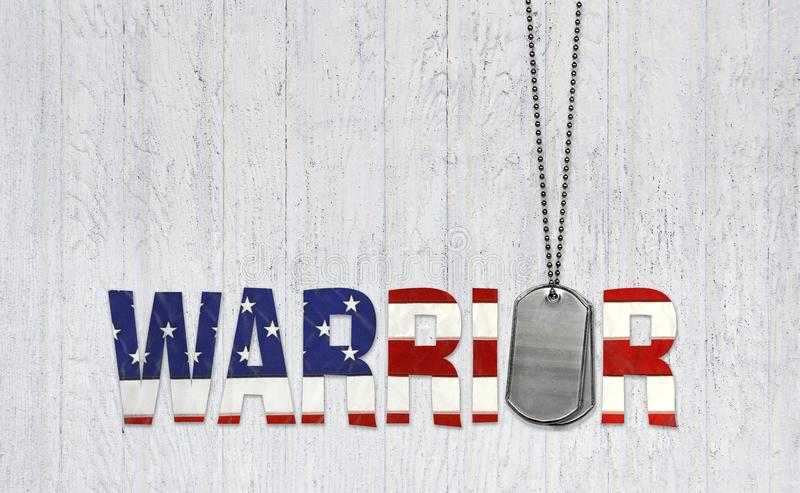Military dog tags and warrior text on wood. Military dog tags with warrior text in American flag pattern on whitewashed wood royalty free illustration