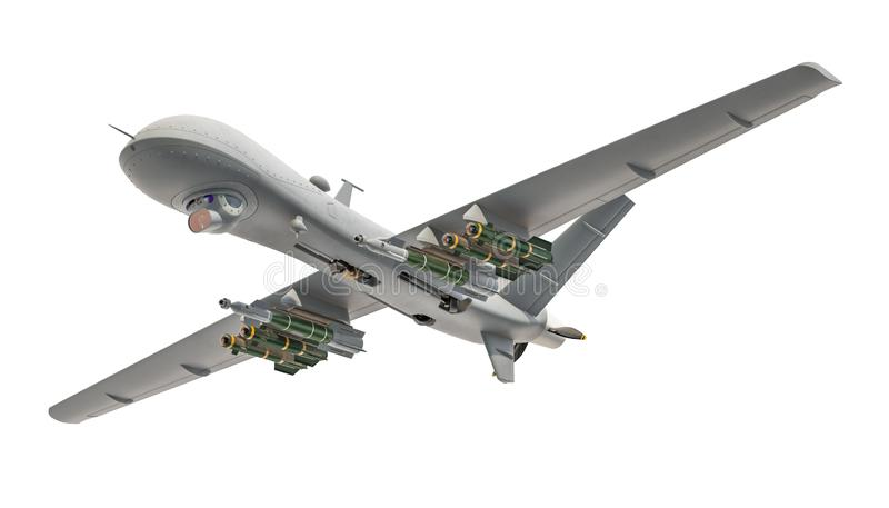 Military Drone. 3D rendering. Isolated on white background vector illustration