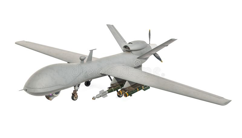 Military Drone. 3D rendering. Isolated on white background royalty free illustration