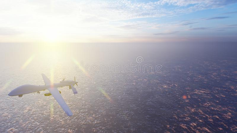 Military drone flies over the ocean at sunrise. The concept of military weapons. 3D Rendering vector illustration