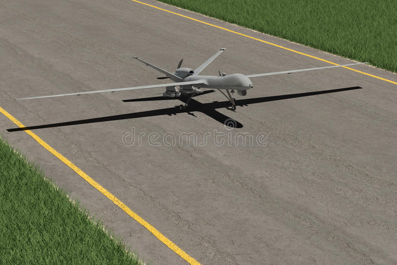 Military Drone on ground. With gras and runway stock illustration