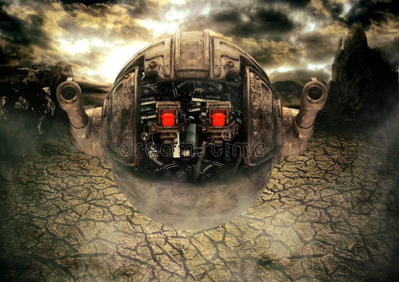 Military drone robot on the alien planet in heavy weapon combat position. Concept art science fiction of intergalactic warfare. 3D rendering stock illustration