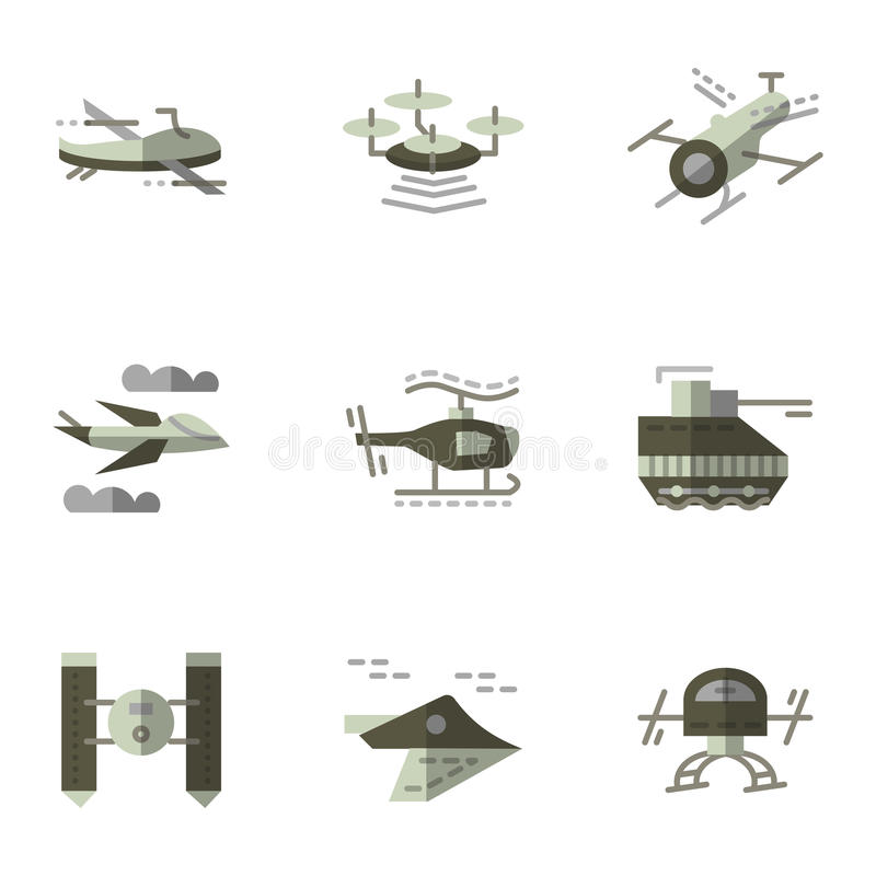 Military drones flat icons set vector illustration