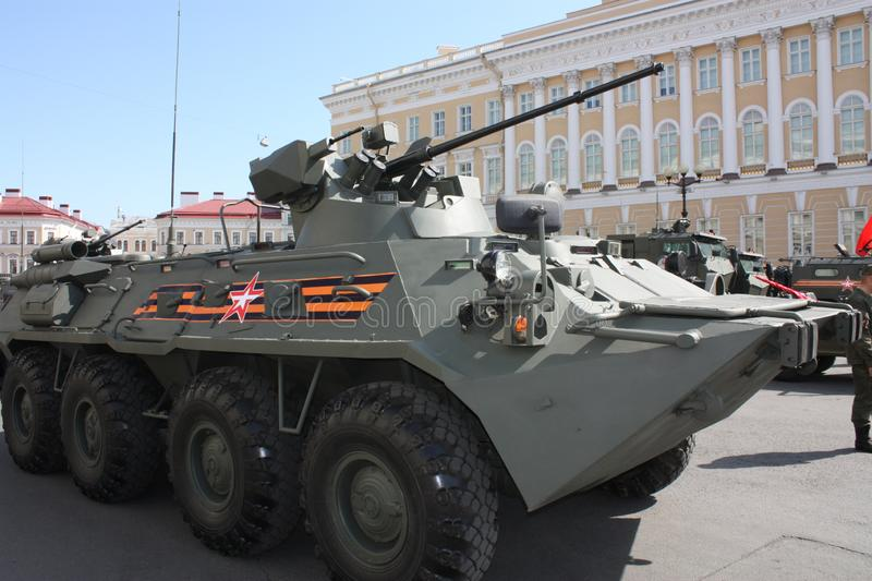 Military equipment before the parade royalty free stock image