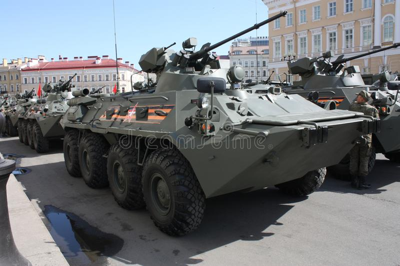 Military equipment before the parade royalty free stock photos
