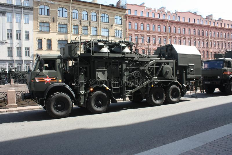 Military equipment before the parade stock image