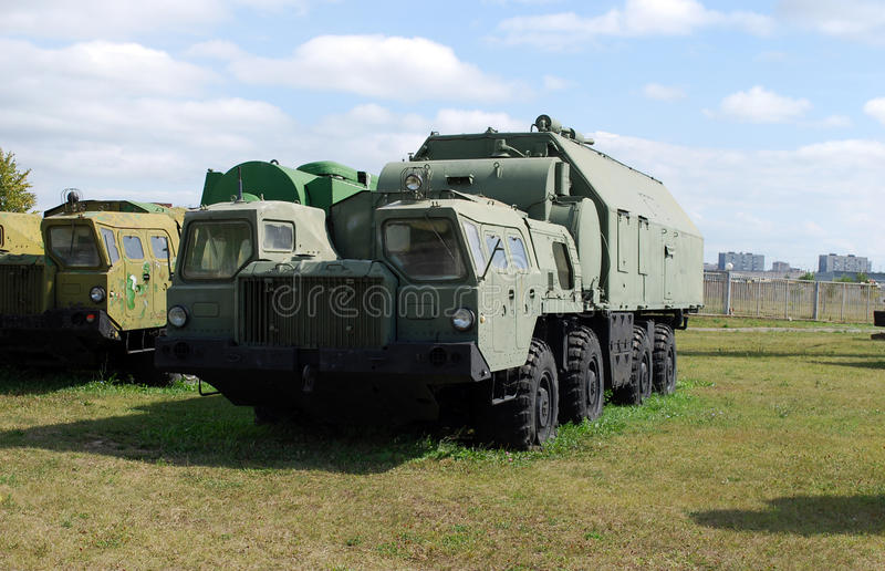 Military equipment costs under the open sky. Exhibit of the Technical museum K.G. Sakharova in the city of Togliatti. Samara region. Russia royalty free stock image