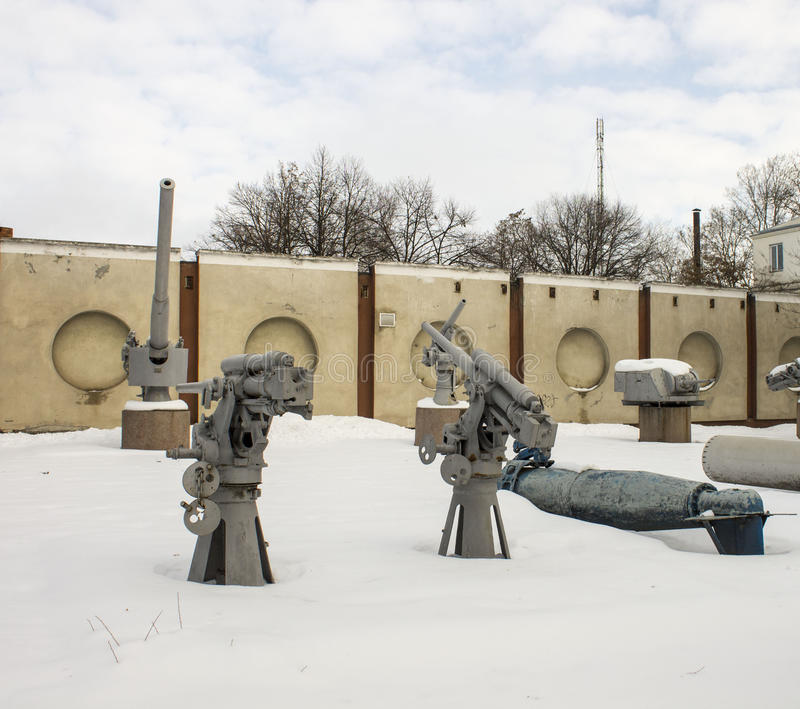 Military equipment exhibition. Open-air museum. stock image